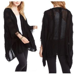 Chaser Shaggy Open Front Kimono Cardigan Sweater